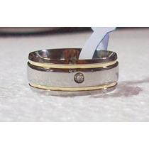 Aliança Aço Inox 8mm Polida 2 Fios De Ouro 1 Zirconia Centro