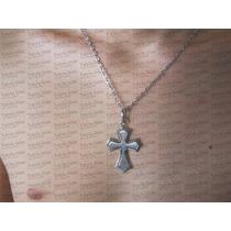 Corrente Colar C/pingente Crucifixo Em Aço Inox Legitimo