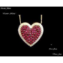 Lindo Pingente Coração Com Diamantes E Rubis Ouro 18k