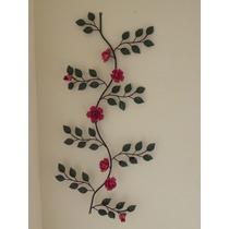 Rama De Parede Flores Rosa