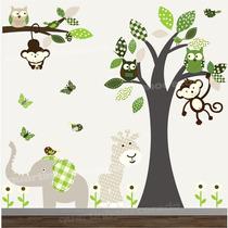 Adesivo Infantil Arvore Safari Decorativo Parede Bebe Zoo