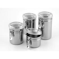 Conjunto De Potes Para Mantimentos Herméticos Em Inox Z4397
