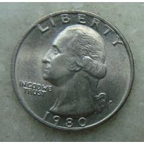 291 Eua - Quarter Dollar 1980 Letra P - Serrilha 24mm