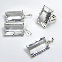 Conjunto Brincos, Anel E Pingente Cristal Natural Prata 950k