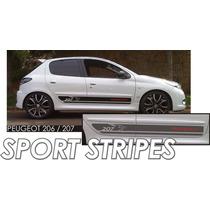 Faixas Laterais Peugeot Sport P/ 206 Ou 207 / Tuning Carro
