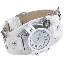 Relógio Branco De Couro: Metal Piratas.lindo Relógio Unissex
