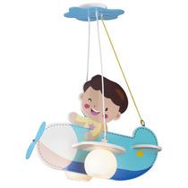 Lustre Infantil Blue Airplane Quarto De Criança Menino Bebe