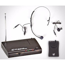 Microfone Tsi Ms115 Cli Sem Fio Vhf Auricular E Lapela