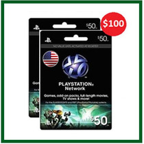 Psn Card - Playstation Network Card - Cartão Psn 100 - 2x 50