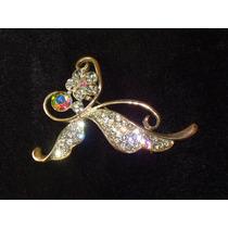 Elegante,belíssimo Broche Cristais Iriscentes,itália,déc.90