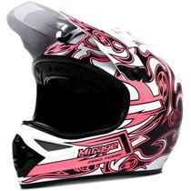 Capacete Moto Cross Pro Tork Mirage Trilha Rosa E Branco