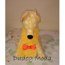 Cachecol Em Crochê Amarelo - M - Frete Gratis!