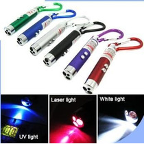 Mini Chaveiro C/ Lanterna,luz Negra E Laser Testa Nota Falsa