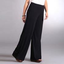 Pantalona Viscostretch Preta Elástico Cintura M Ao 4x