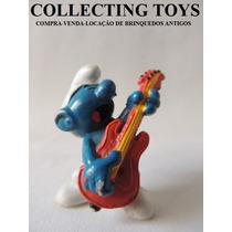 Boneco Do Smurfs - Schleich - Antigo - Com Guitarra (sm 28)