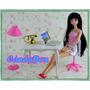 Mesa + Cadeira + Luminaria + Notebook : Móveis P/ Barbie