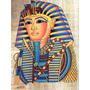 Pintura Egipcia Óleo S/papiro A Máscara Mortuária Do Faraó