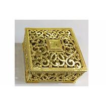 Mini Porta-joia Quadrado Dourado Pacote Com 10 Unidades