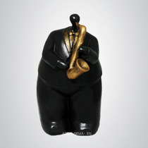 Gordo Músico Com Saxofone - Escultura Estátua Estatueta