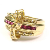 Joalheriavip Anel Pavê Rubis Diamantes Ouro 18k Frete Grátis