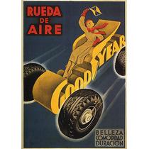 Goodyear Carro Mulher Pneu Bandeirinha Poster Repro