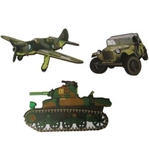 3 Apliques Guerra Exército Tanque, Jipe Mdf 3 Placa