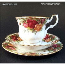 Lindo E Antigo Trio Inglês Royal Albert Country Roses !!
