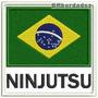 Patch Bordado Bbr037 Ninjutsu Bandeira Brasil Arte Marcial