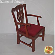 Cadeira Poltrona Vitoriana Veludo E Madeira Barbie Boneca T3