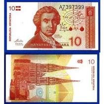Croácia 10 Dinara 1991 P. 18 Fe Cédula Bonita