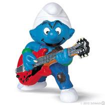 Boneco Alemao Schleich 20449 Smurf Guitarrista Filme Desenho