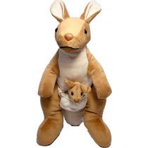 Canguru Com Filhote Bicho Pelucia Brinquedo Presente