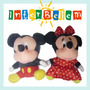 Kit 2 - Pelúcia Mickey E Minnie Mouse 18cm