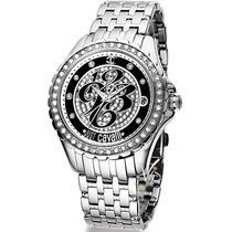 Relógio Feminino Just Cavalli It Prata Preto Cristal Luxo Mk