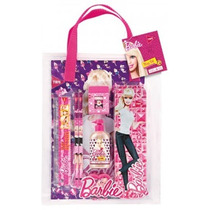 Kit Estojo Escolar Bag Set Barbie 8pç Penal Lápis Régua Etc