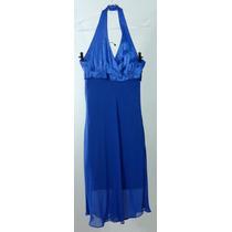 Vestido Acetinado Frente Unica Azul - Tam ( M )
