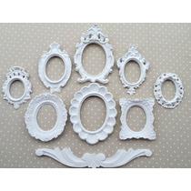 Kit 8 Molduras Antique Já Com Espelhos Decorativos Branco