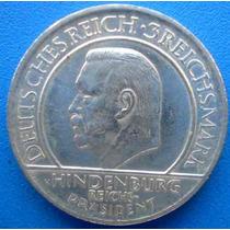 Alemanha-moeda Prata 3 Mark-1929a-hindenburg-aniver.constit.