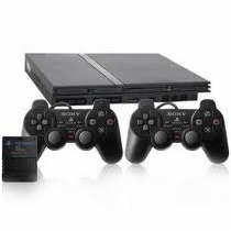 Playstation 2 + 2 Controles+cabo Av+memory Card+5 Jogos