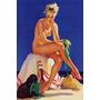 Poster Cartaz Pinup Mulher Loira Nua Cachorro Comeu Biquini