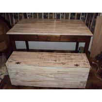 Mesa Em Madeira De Demolição Com Banco Baú