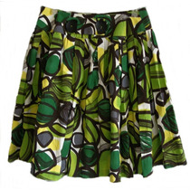 Saia Zara Estampa Tons Verde Tecido Algodão