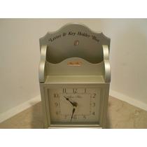Relógio Madeira Porta-chaves,porta-coisas,anos 90