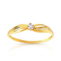 Solitário Em Ouro 18k!!com Diamantes De 4 Pontos!!