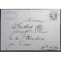França 1 8 6 9 Carta Circulada De Marselha Selo Napoleão 3º