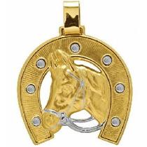 Nelcy Joias Pingente Ferradura C/ Cabeça De Cavalo Ouro 18k