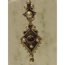 Brinco Prata 925 Indiano Com Pedra Granada E Perola