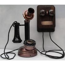 Telefone Antigo Castiçal Com Campainha Externa - Artesanal