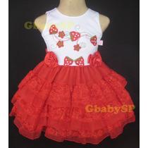 Vestido Fantasia De Festa Infantil Moranguinho