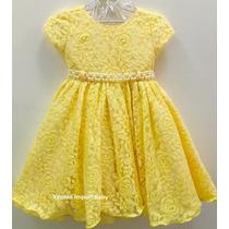 Vestido Festa Infantil Amarelo Minnions Renda Luxo E Tiara